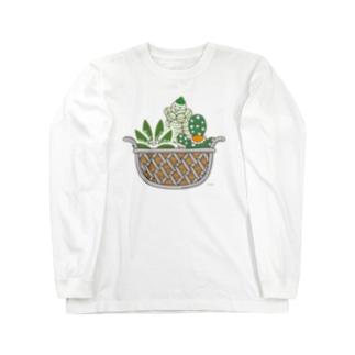 多肉植物たにくさん (ワイヤーフレームに集合) Long sleeve T-shirts