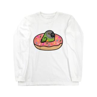 Chubby Bird ネズミガシラハネナガインコ in ドーナツ Long sleeve T-shirts