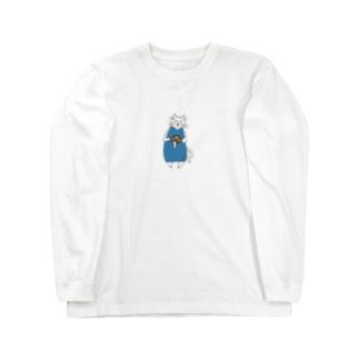 巻きしいたけ柄マキシ丈ワンピを着た猫 Long sleeve T-shirts