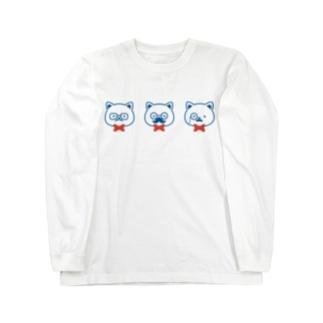 ネコとヒゲとメガネ Long sleeve T-shirts