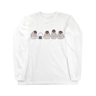 桜文鳥とおにぎり Long sleeve T-shirts