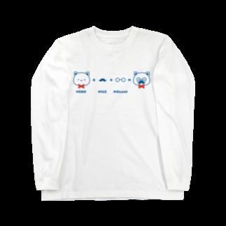 チョッちゃんのネコ+ヒゲ+メガネ Long sleeve T-shirts