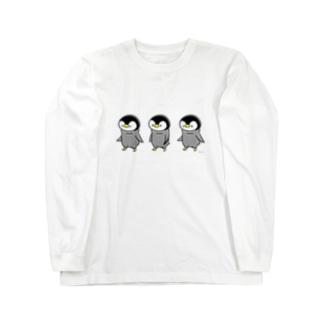 しろくま&ペンギン通信の歩くペンギン Long sleeve T-shirts