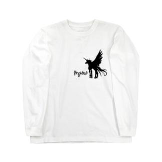プルーミィグッズのペガサスロゴ Long sleeve T-shirts
