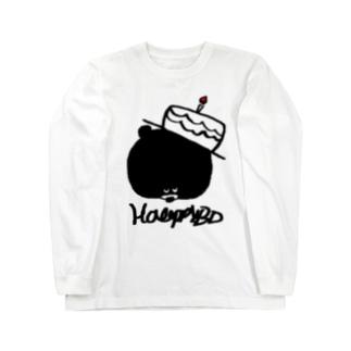 egu shopのHBDKUMA Long sleeve T-shirts