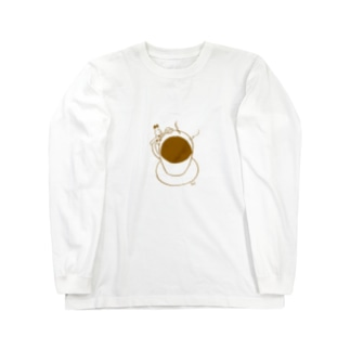 othello shopのコーヒーとオセロうさぎ Long sleeve T-shirts