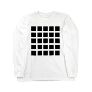 黒マス黒マス(Optical illusion) Long sleeve T-shirts