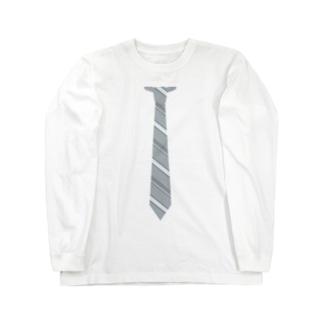 a-noのネクタイ風 グレーストライプ Long sleeve T-shirts