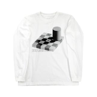 チェッカーシャドー錯視 Long sleeve T-shirts
