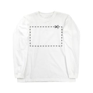 切り抜き線(黒) Long sleeve T-shirts