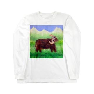 【Glamorous Life 】祖父との思い出の油絵 Long sleeve T-shirts
