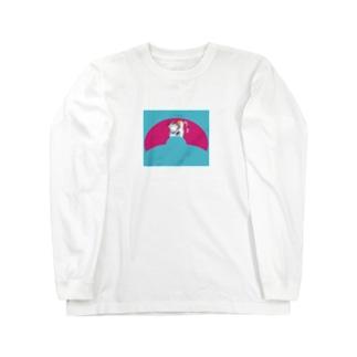 JUNSEN(純仙)扇形の中にいる猫B Long sleeve T-shirts