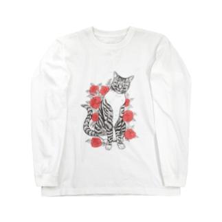 猫とバラ Long sleeve T-shirts