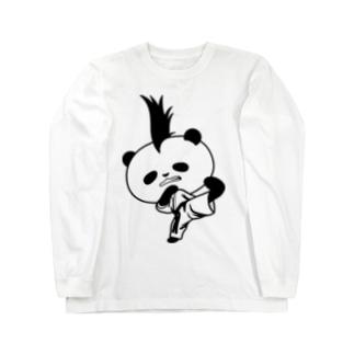 【かっこいいのに可愛いパンダ】モヒカンパンダの空手上段蹴り Long sleeve T-shirts