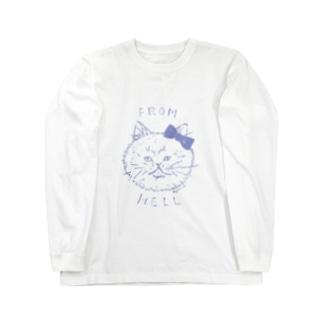 ねこ from hell (purple) Long sleeve T-shirts