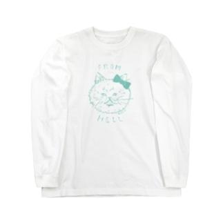 ねこ from hell (green) Long sleeve T-shirts