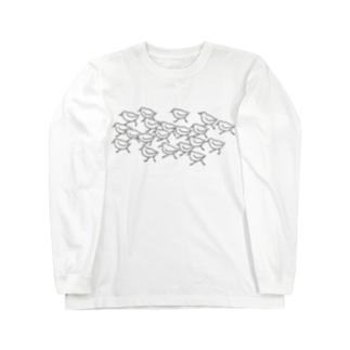 ミユビシギ19+ハマシギ1 black(薄色用) Long sleeve T-shirts