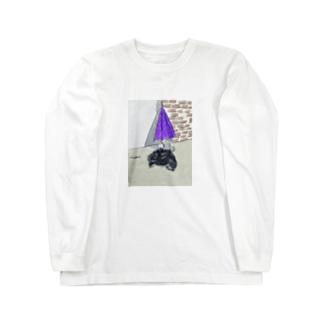 猫とカサとポリ袋 Long sleeve T-shirts
