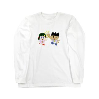 ミニわんぱ君としおりちゃん Long sleeve T-shirts