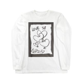 偽諺~壱~「ラヴイズグラインド」(黒縁) Long sleeve T-shirts