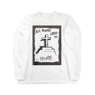 偽諺~弐~「全ての道はホームに通ず」(黒縁) Long sleeve T-shirts
