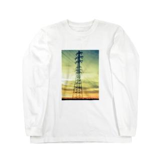 朝焼けの鉄塔 Long sleeve T-shirts