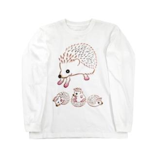 ハリネズミのお母さんと愉快な子供達 Long sleeve T-shirts