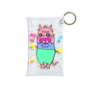 Dokiっとキャット(ピンク)  Mini Clear Multipurpose Case