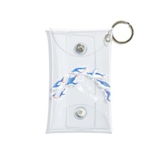 グラスを泳ぐペンギン(青) Mini Clear Multipurpose Case