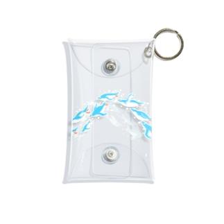 グラスを泳ぐペンギン(水色シンプル) Mini Clear Multipurpose Case
