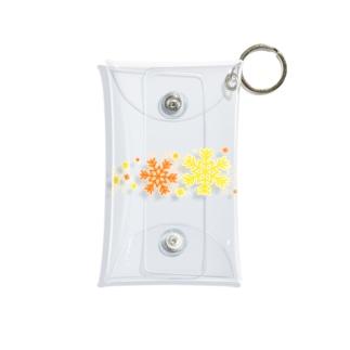 つきしょっぷの黄色とオレンジ色の雪の結晶 Mini Clear Multipurpose Case