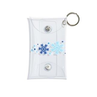 青色と水色と雪の結晶 Mini Clear Multipurpose Case