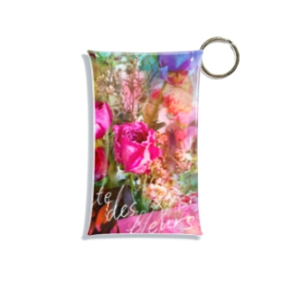 + Fete des fleurs 03《Sweet pink roses+neutral》 Mini Clear Multipurpose Case