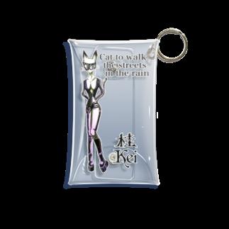 桂Keiの全透過バージョン Cat to walk the streets in the rain. Mini Clear Multipurpose Case