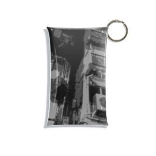 眠る街。(黒/フチ無) Mini Clear Multipurpose Case