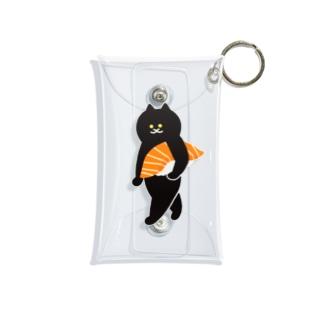 サーモンの握り寿司をかっこよく持ち運ぶ猫 Mini Clear Multipurpose Case