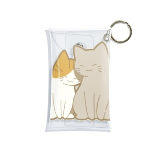 仲良し猫 縞三毛&灰 Mini Clear Multipurpose Case
