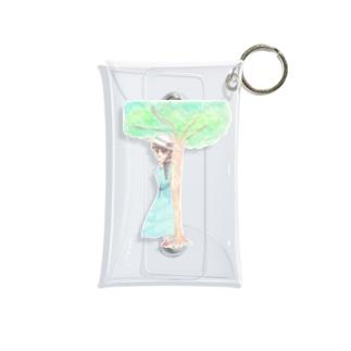 木陰で休む少女 Mini Clear Multipurpose Case