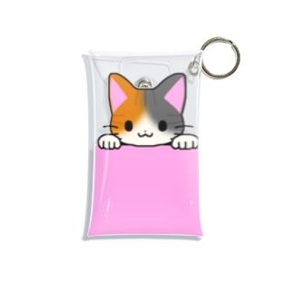 ゆめかわ屋 いそぎんちゃくのひょっこり縞三毛猫 ピンク Mini Clear Multipurpose Case