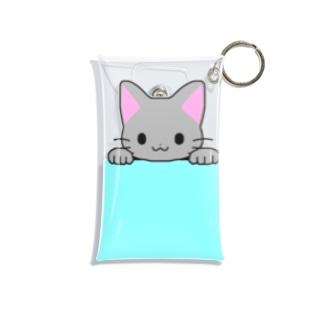 ゆめかわ屋 いそぎんちゃくのひょっこり灰色猫 水色 Mini Clear Multipurpose Case