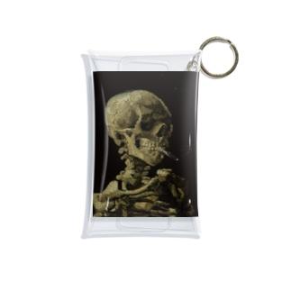 火の付いたタバコをくわえた骸骨 Mini Clear Multipurpose Case