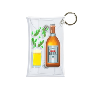 Slow Typingの瓶ビールと焼き枝豆 196 Mini Clear Multipurpose Case