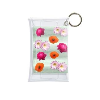 花柄 ×  ボーダー グリーン Mini Clear Multipurpose Case