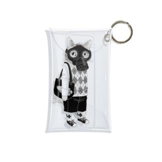 ガスマスクを付けた猫 Mini Clear Multipurpose Case