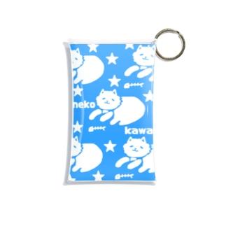 neko kawaii 青 Mini Clear Multipurpose Case