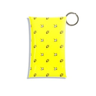 #かめつる柄 _ 黄色 Mini Clear Multipurpose Case