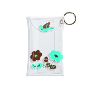 チョコミントカラーのお花 Mini Clear Multipurpose Case
