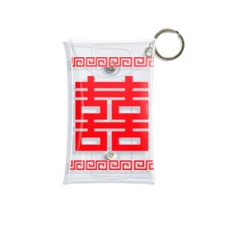 双喜紋(喜喜)幸福のシンボル【赤】 Mini Clear Multipurpose Case
