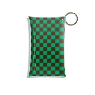 市松模様 緑・黒 Mini Clear Multipurpose Case