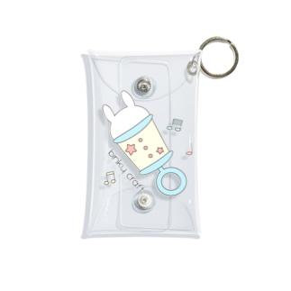 うさぎガラガラ(みずいろ) Mini Clear Multipurpose Case